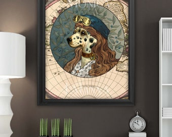 Dalmation dog Fine Art Print/Poster Picture with Aviator goggles Ornate 8 x 10 and 12 x 16 inches.