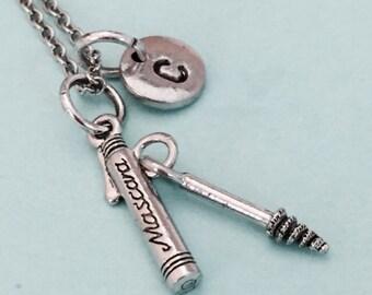 Mascara necklace, mascara charm, makeup charm, cosmetics, eyelashes, personalized necklace, initial charm, monogram