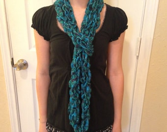 Blue Teal And Navy Acrylic Polyester Yarn Handmade Woven Fashion Scarf