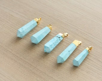 1 pcs of Dyed Howlite Point Pendant With Gold Plated Pendant