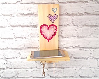 Key hooks with small shelf /  Small decorative shelf with hearts / Key holder with hearts / Key holder for wall / Small wooden shelf
