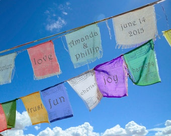 Personalized Wedding Gift Photo Tibetan Prayer Flags Customized Names Dates Anniversary Valentines Day Invitation pp29