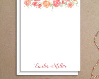 Flat Note Cards - Rose Note Cards - Floral Thank You Cards- Personalized Floral Stationery - Floral Note Cards