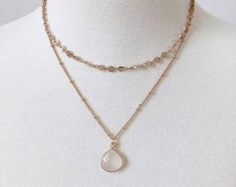 Ivory 2 Layered Stone Necklace