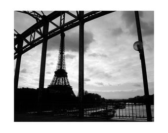 Eiffel Tower from Pont Debilly, Paris Black and White Photography Wall Art Prints, 8x10