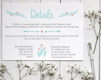 Wedding Details Card Template, Rustic Wedding Details Card, Editable Text, Printable File, Instant Download, PDF Template #PF014_2