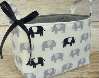 Storage Fabric Organizer Bin Container Basket - Gray and Navy Blue Elephants on White Fabric - Nursery Baby Room Decor - Baby Shower Gift