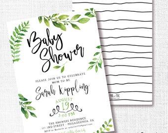 Greenery Shower Invitation, Printable, Nautral Invite, Baby Shower, Bridal, Wedding, Fern, Green, Boho, Bohemian, Modern, Simple, Neutral