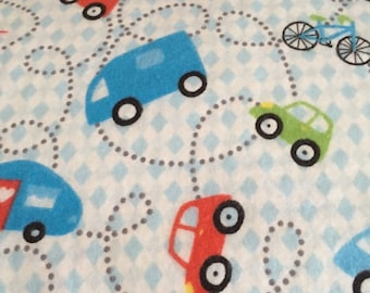 A transportation themed  flannel fitted crib /toddler sheet