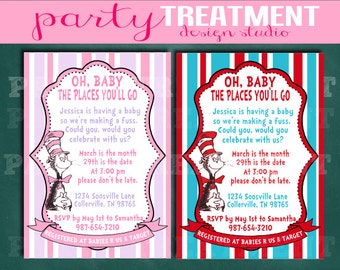 Dr. Seuss Baby Shower Invitation Oh Baby Pink and Lavender or Red and Blue 014