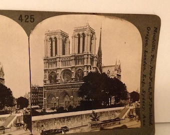 ON SALE Notre Dame Paris France Early 1900's Antique Old Vintage Stereoview Stereo Card Keystone