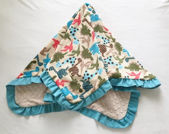 Baby Blanket Dinosaurs Minky Corduroy Ruffle Medium Size Aqua Beige
