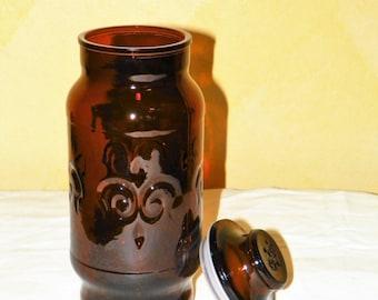 Brown Glass Jar with Sealed Lid, 9 1/8 Inch Tall Storage Container, La Fleur Design Sealed Storage Jar