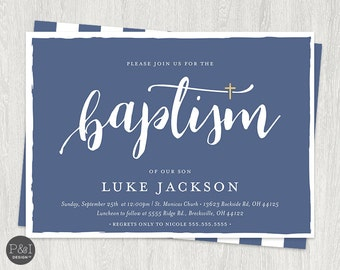 Baby Boy or Girl Baptism | Christening Invitations | DIY | Printable 7x5