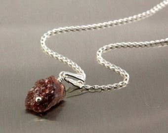 Garnet Necklace Sterling Silver - Single Raw Garnet Necklace - Rough Garnet Natural Stone