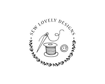 PREMADE one of a kind, sewing logo, craft logo design, knitting logo, crochet logo, handmade logo