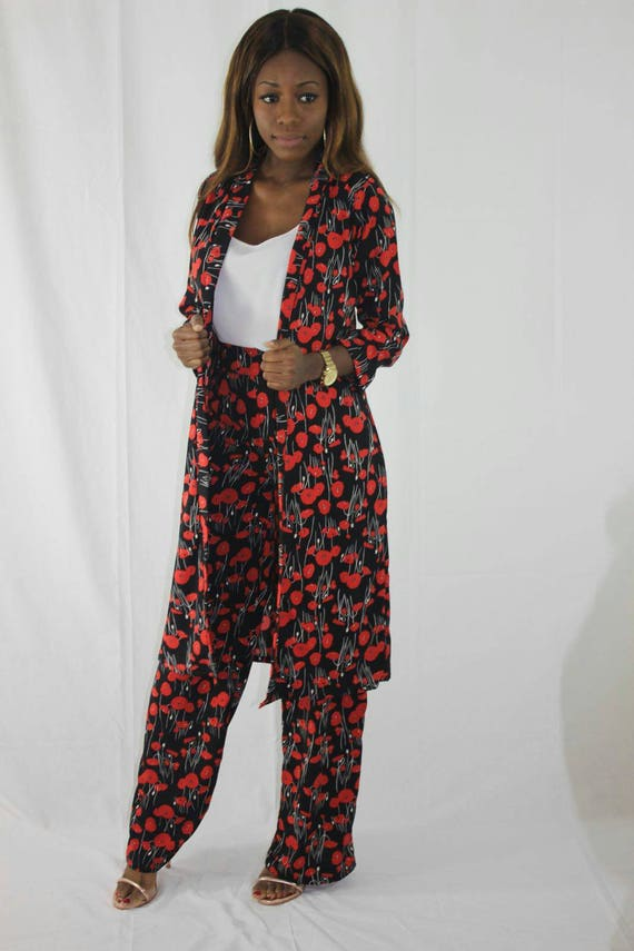 Jen Red & Black Poppy Flower/Floral Kimono Suits Set