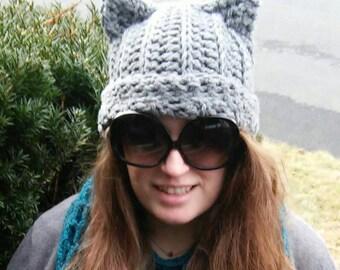 Crochet Cat Ears Hat, Cat Ears Hat, Cat Hat, Adult Cat Ears Hat, Kitty Cat Hat, Kitty Hat, Ear Hat