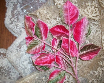 Vintage 2 color velvet leaves 1930s