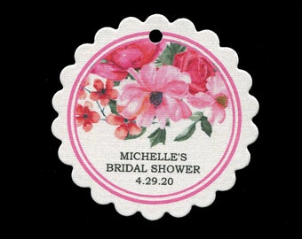 Personalized Bridal Shower Favor Tags with Pink Flowers - Thank You Tags - Round Scallop Tags
