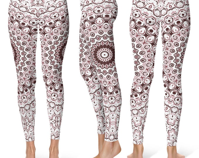 Mid Rise Yoga Leggings, Boho Yoga Pants, Brown Mandala Yoga Tights, Printed Leggings, Custom Leggings, Womens Stretch Pants