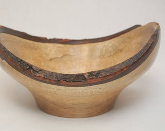 Handmade Live Edge Spalted Maple Bowl-