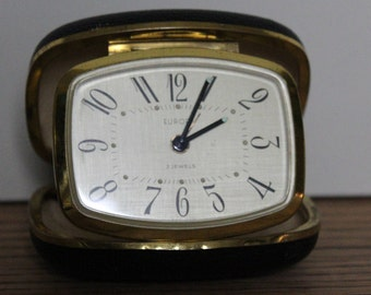 Pocket Travel Alarm Clock With Case ~ Europa 2 Jewel ~ Made in Germany