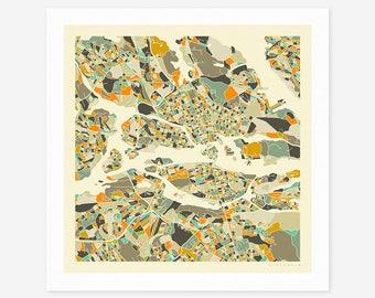 STOCKHOLM MAP (Giclée Fine Art Print/Photo Print/Poster Print) by Jazzberry Blue (ivory version)