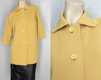 "1960's Mustard Yellow Wool Vintage Cardigan Sz L/XL 40"" Waist"