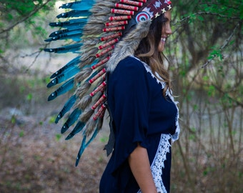 The Original - Real Feather Aqua Chief Indian Headdress Replica 90cm, Native American Style Costume Hand Made War Bonnet Hat