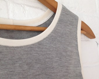 Gray and White A-line Swing Racer Back Tank // Small