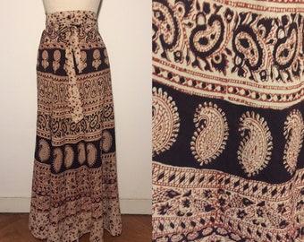 Vintage 70s Indian Cotton Maxiskirt Wrap Skirt