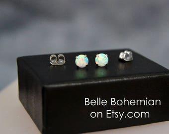 White Opal Earring - White Fire Opal - Stud Earrings - Opal Stud Earrings - Little Studs - 4mm Opal - Dainty Opal Earrings - Belle Bohemian