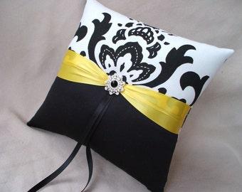 Sunshine Yellow Black White Damask Bridal Wedding Ring Bearer Pillow Rhinestone Accented
