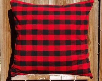 Red and Black Plaid Pillow Sham