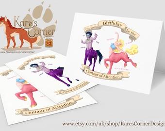 Centaur of Attention Birthday Card - 3 Designs