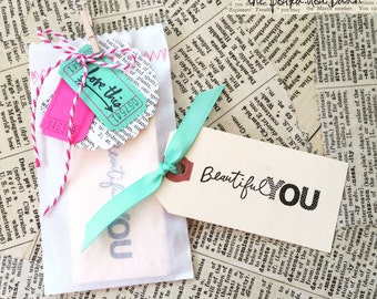 10 beautiful YOU hand stamped mini tags-Beautiful You-10 mini gift tags-manila stamped tags-manila blank tags