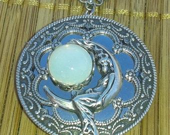 Moon Goddess Selene (aka Luna) silver locket with vintage glass moon stone -