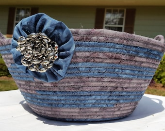 Fabric basket, Coiled rope basket, Blue and Gray fabric basket, Storage basket, Marble color basket, Homemade, Handmade, Clothesline