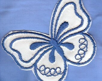 Butterflies are free to fly! Light blue, white iron on