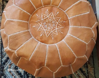 Moroccan Pouf, Handmade natural Leather pouf, Ottoman pouf Home decor, Round Pouf, Genuine leather pouf.