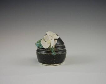 Short Stem Porcelain Vase or Pen Holder with Primrose Flower