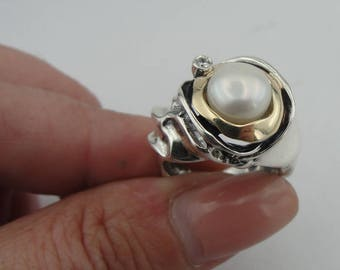 Pearl 925 silver ring, Silver and Gold ring, White Pearl Ring, Yellow gold Pearl Ring, ring size 7, Fine ring, White Pearl Ring (ms 199r)