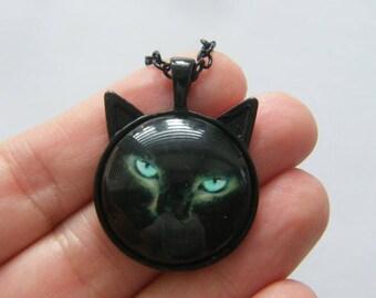 1 Cat Halloween pendant black tone HC235