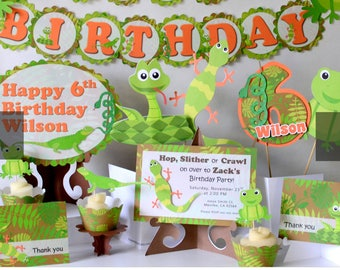 Reptile Birthday Party Decorations - Snake, Lizard, Frog - Invitation, Decoration, Banner, Baby Shower, Cupcake Topper, First