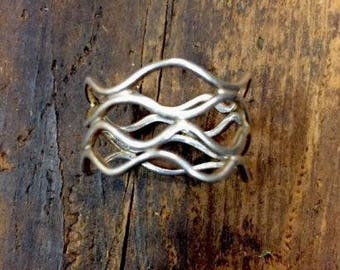 Wire Wrap Open Wide Band Sterling Silver Ring Size 8