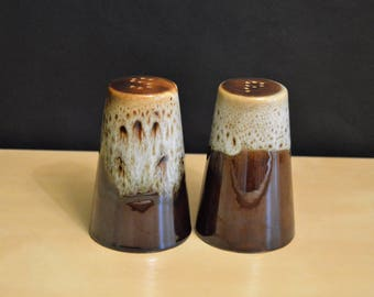 Vintage Canonsburg Salt and Pepper Shakers, Carefree Ironstone USA, Brown Drip Glaze, With Rubber Stoppers, 4.25""