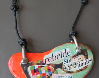 Collage necklace, collage pendant, necklace, jewelry, handicraft,