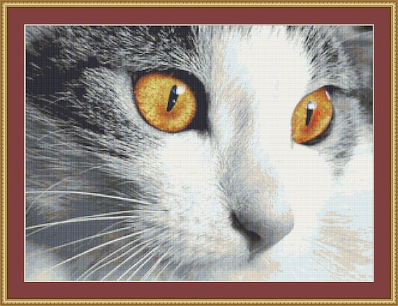 Cat Face Cross Stitch Pattern /Digital PDF Files /Instant downloadable
