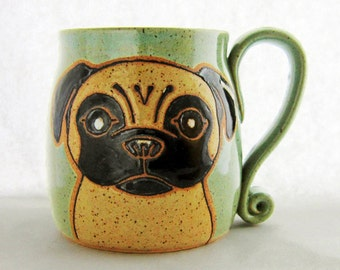 Pug Mug, Large 18-21 oz pottery mug, Mothers Day gift, ceramic mug, pug gift, dog mug, pug lovers gift, microwave and dishwasher safe.